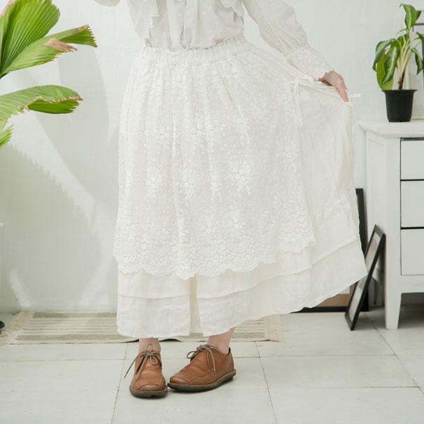 【ラストワン】【053009】 刺繍 レース リネン ロング スカート