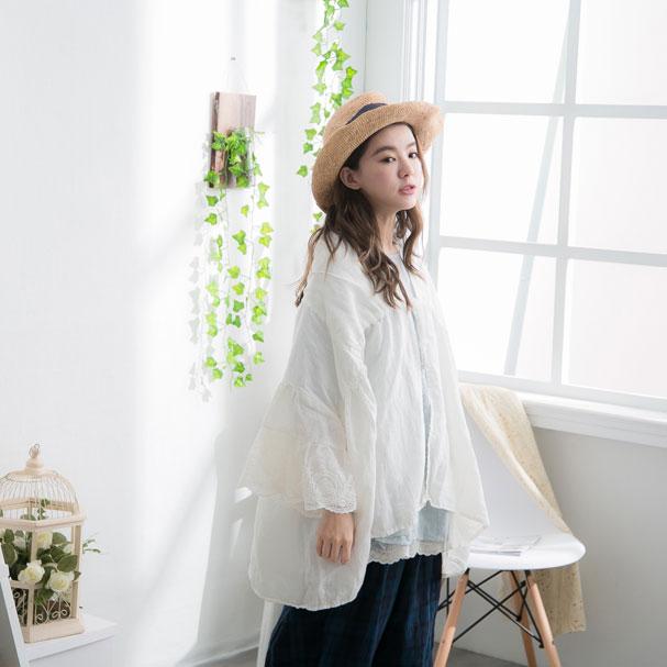【056004】 7分袖 刺繍 レース リネン コットン ショート アウター