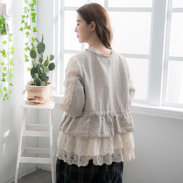 【おかげさまで10周年】【056012】 7分袖 刺繍 レース リネン ショート アウター
