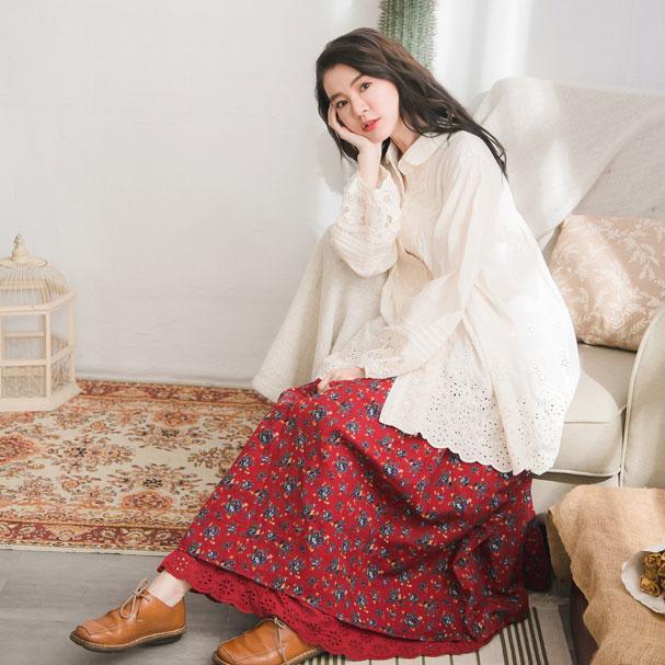 【060003】 刺繍 レース 小花柄 起毛 コットン ロング スカート