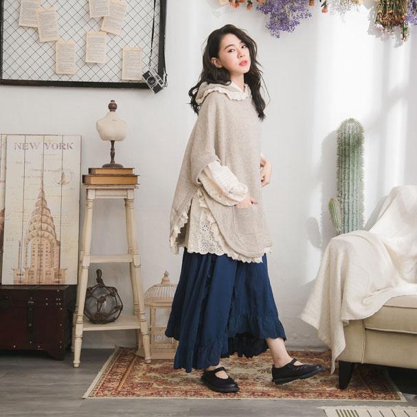 【コミコミ】【おかげさまで10周年】【060007】 刺繍 レース 起毛 コットン ロング スカート