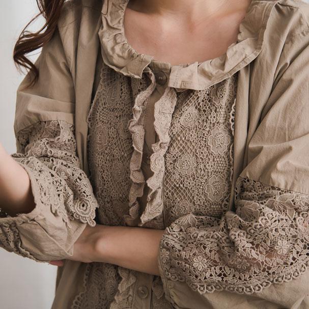 【おかげさまで10周年】【060022】 長袖 刺繍 レース コットン ブラウス