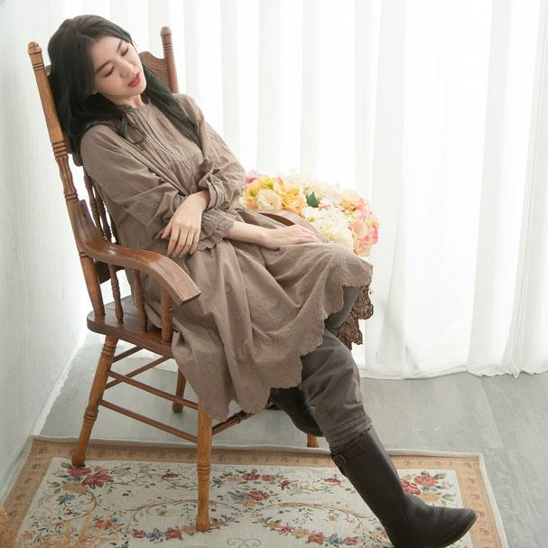 【061026】 長袖 刺繍 レース コットン ミディアム ワンピース