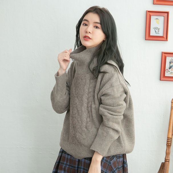 【061037】 長袖 刺繍 レース ウール ニット セーター