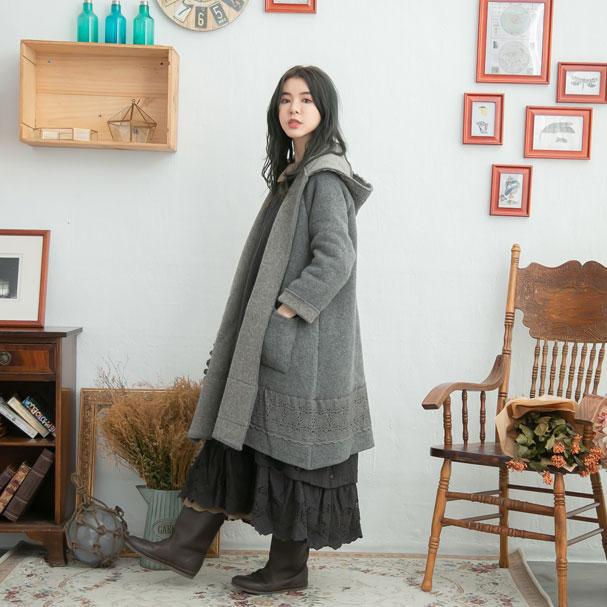 【061041】 【フード付】 長袖 刺繍 レース ウール ニット ロング ダッフル コート