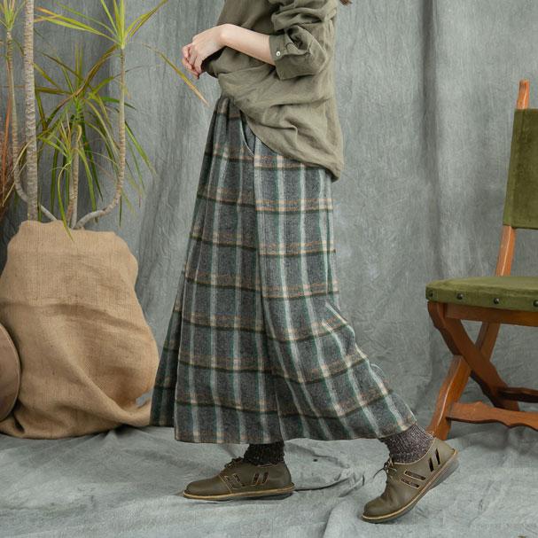 【062006】 チェック柄 ウール ロング スカート 【グレー】