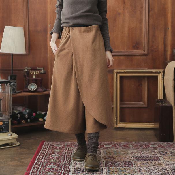 【063050】 ウール ロング スカート パンツ 【ライトブラウン】