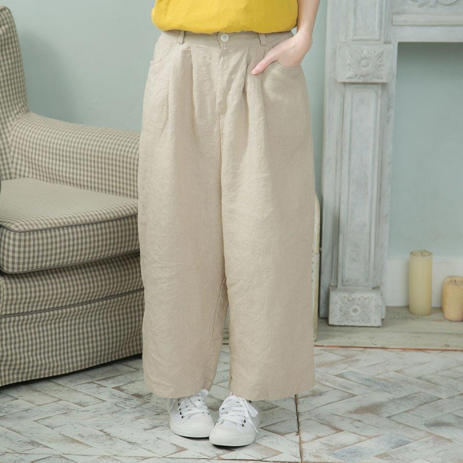 Mycloset 【066009】【ベージュ ベイジ 】【 9分丈 リネン カジュアル パンツ 】 2019 春夏 新作 レディース ファッション 女性用 旅行服 婦人服 フリーサイズ SS S M L LL XL XXL ワイド ガウチョパンツ スカーチョ