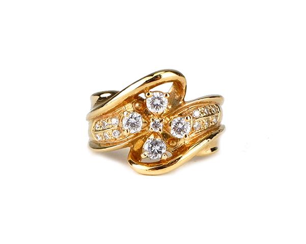 ノンブランド リング 指輪 K18YG 750 18金 イエローゴールド ダイヤモンド 11号相当 レディース 【中古】
