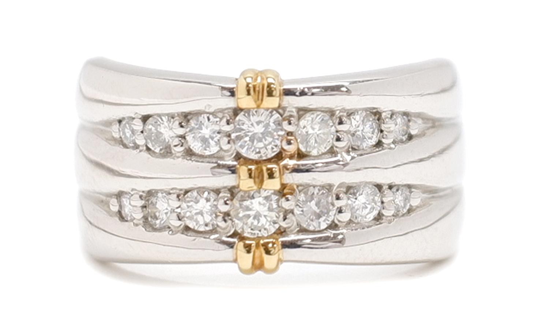 ノンブランド リング 指輪 ダイヤモンド 14P Pt900 プラチナ K18YG 750 18金 イエローゴールド コンビ 10.5号相当 レディース 【中古】