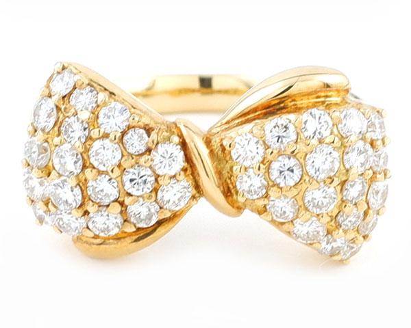 ノンブランド リング 指輪 ダイヤモンド パヴェ リボン K18YG 750 18金 イエローゴールド 11号相当 レディース 【中古】
