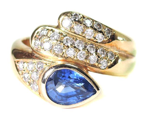 ノンブランド リング 指輪 ダイヤモンド サファイヤ K18YG 750 18金 イエローゴールド 12号相当 美品 女性用 レディース 【中古】