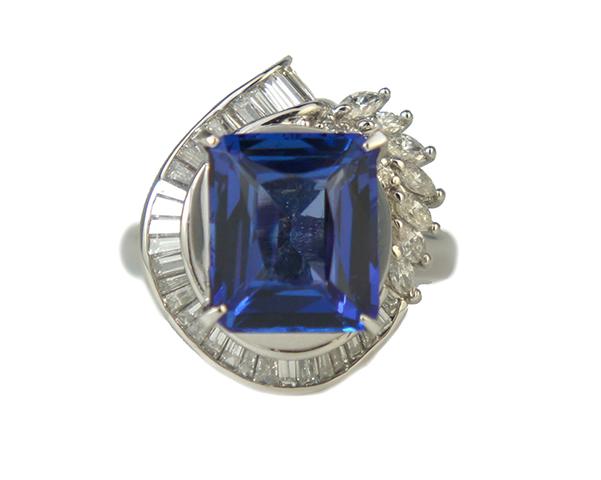 ノンブランド リング 指輪 大粒 タンザナイト ダイヤモンド Pt900 プラチナ 13.5号相当 レディース 【中古】