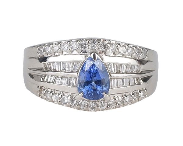 ノンブランド リング 指輪 サファイア ダイヤモンド Pt900 プラチナ 15.5号相当 レディース 【中古】