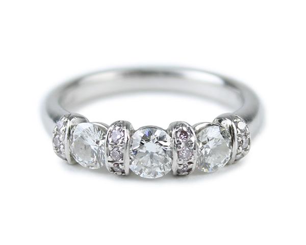 トリロジー TRILOGY リング 指輪 ダイヤモンド ピンクダイヤ Pt900 プラチナ 10.5号相当 レディース 【中古】