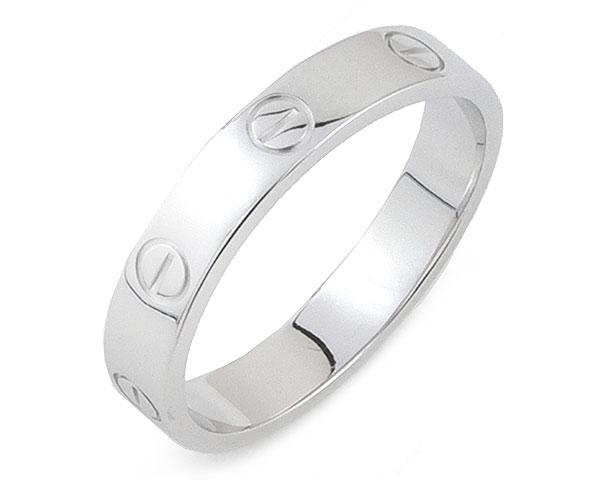 カルティエ Cartier リング 指輪 ミニ ラブリング ラブ LOVE K18WG 750 18金 ホワイトゴールド #59 16.5号相当 レディース メンズ 女性用 男性用 定番 人気 美品【中古】