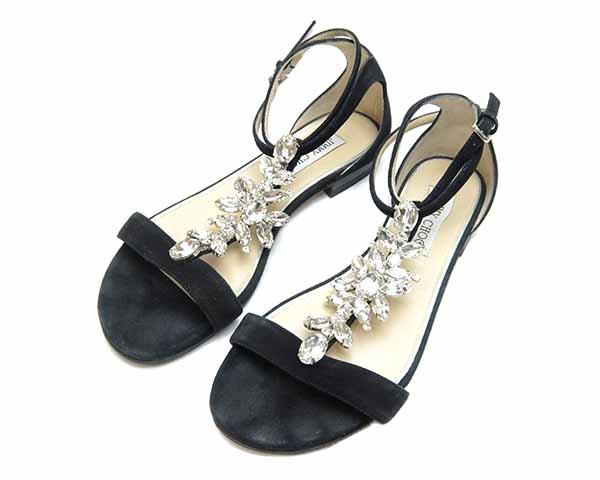 ジミーチュウ JIMMY CHOO 靴 サンダル ビジュー ブラック スエード×レザー 本革 #37 レディース 女性用 定番 人気 美品【中古】
