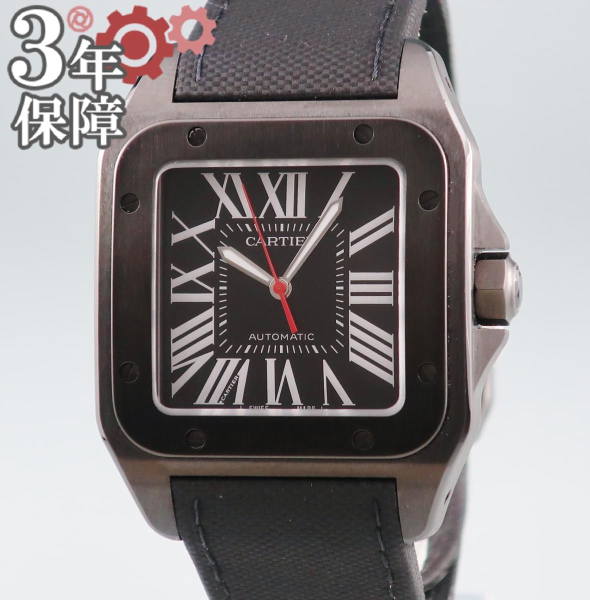 【店内ポイント全品2倍】 カルティエ Cartier サントス100 LM カーボン WSSA0006 自動巻 メンズ 腕時計 ブラック 黒 【中古】 【店頭受取対応商品】