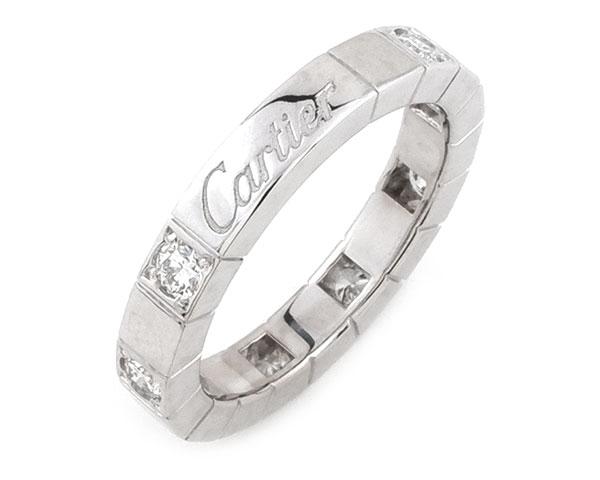 カルティエ Cartier リング 指輪 ラニエール ハーフダイヤ 8P ダイヤモンド K18WG 750 18金 ホワイトゴールド #48 約8号相当 レディース 女性用 定番 人気 美品【中古】