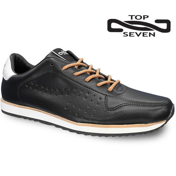 トップセブン スニーカー TOP SEVEN TS-7703 BLK/WHTレザースニーカー 靴