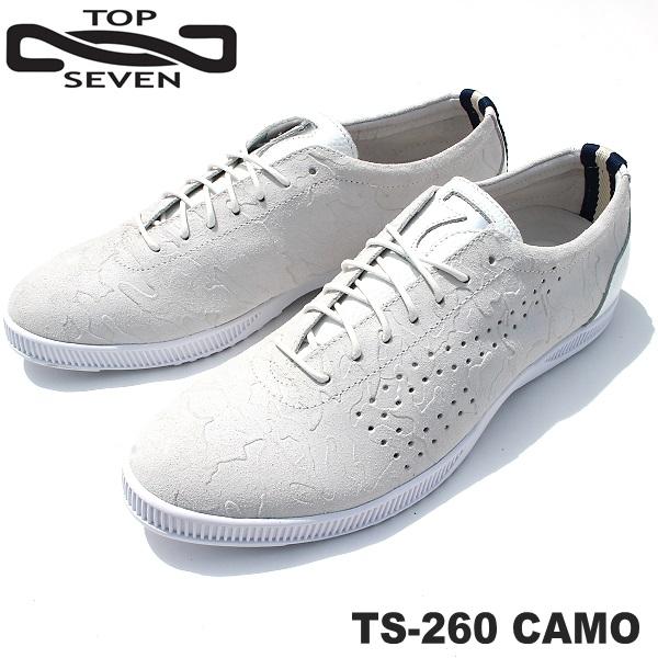トップセブン スニーカー TOP SEVEN TS-260 CAMO WHITEレザースニーカー 靴