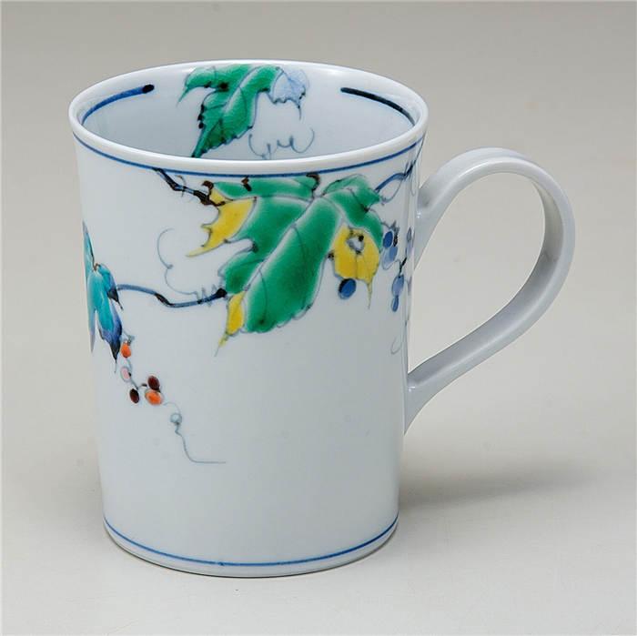 マグカップ カップ コップ マグ 陶器 人気 和風 可愛い かわいい 器 ギフト 祝日 人気の製品 贈り物 プレゼント 九谷焼 紅茶 国産 コーヒーマグ 和食器 野ぶどう 和モダン 食器 来客用 和柄 コーヒーカップ おしゃれ モダン カフェ風