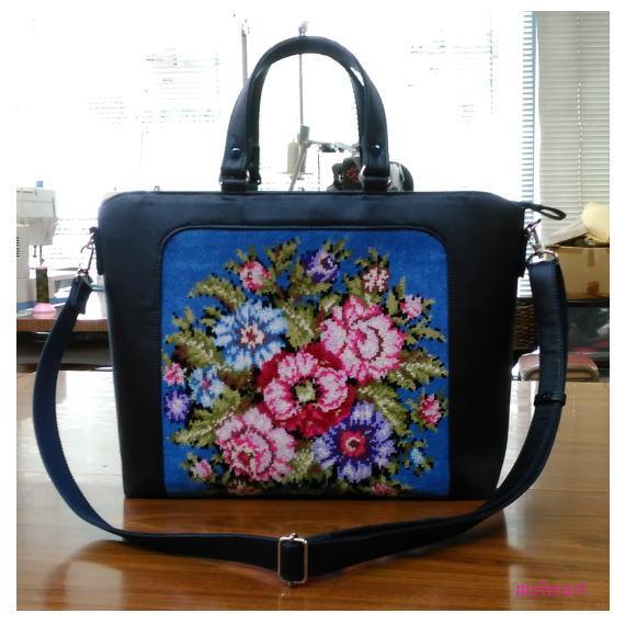 【宅配便配送】バッグ「オービット」 花柄タオル地×合成皮革ネイビー(バッグ)