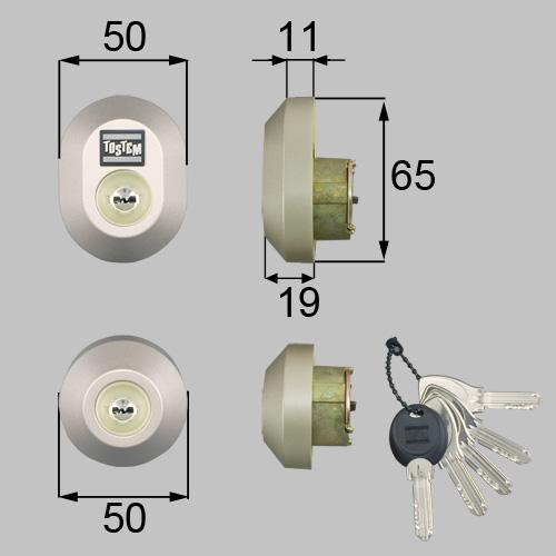 トステム(LIXIL) ドア錠セット(MIWA DNシリンダー)楕円 DRZZ3004