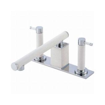 三栄水栓(SAN-EI) TOH ツーバルブデッキ混合栓(ユニット用)〔墨磁〕 寒冷地用 K91300K-L-JD