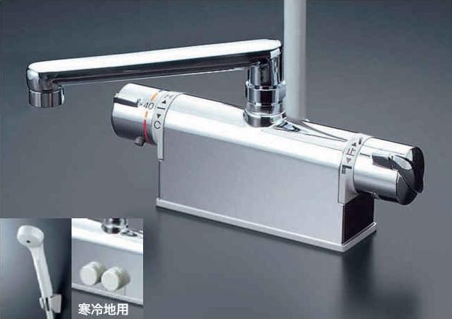 KVK デッキ形サーモスタット式シャワー(取付配管ピッチ85mmタイプ・300mmパイプ付) 寒冷地用 KF771ZNTR3