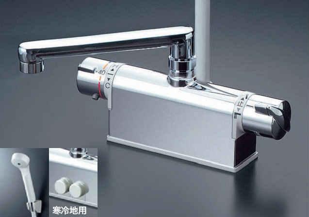 KVK デッキ形サーモスタット式シャワー(取付配管ピッチ120mmタイプ・190mmパイプ付) KF771YT