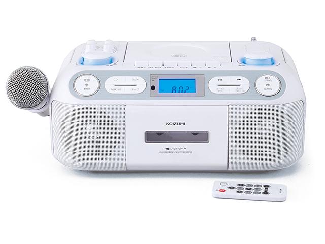 コイズミ CDステレオラジカセ ホワイト SAD-4942 |送料無料 CD テープ マイク 音量 カセット ダビング 録音 カラオケ 練習 ラジカセ