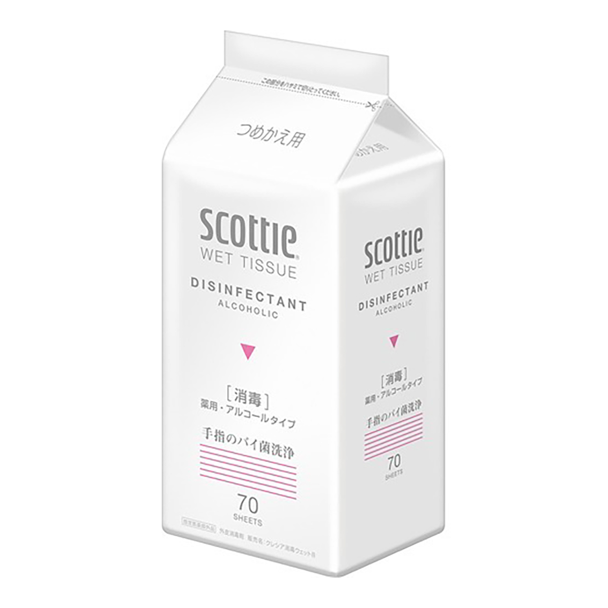 殺菌成分配合で見えないバイ菌を素早く消毒 ウェットティッシュ 美品 クレシア スコッティ 70枚入 ウェットティシュー つめかえ用 消毒 期間限定で特別価格