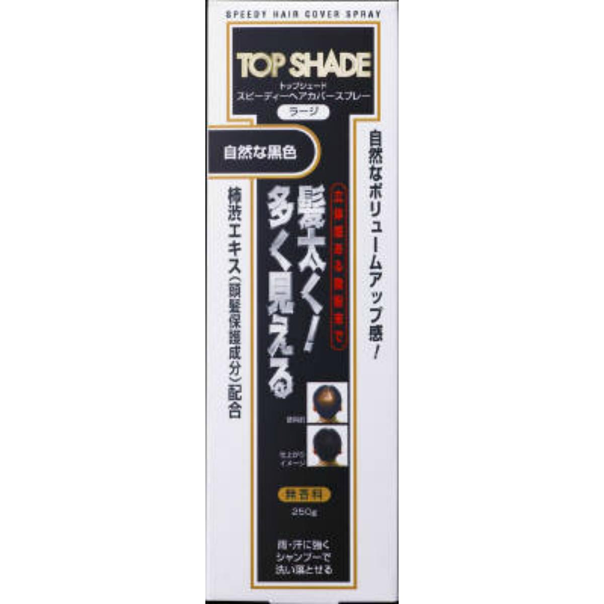 【送料込·まとめ買い×6個セット】柳屋本店 トップシェード ヘアカバースプレー ラージ 自然な黒色 250g