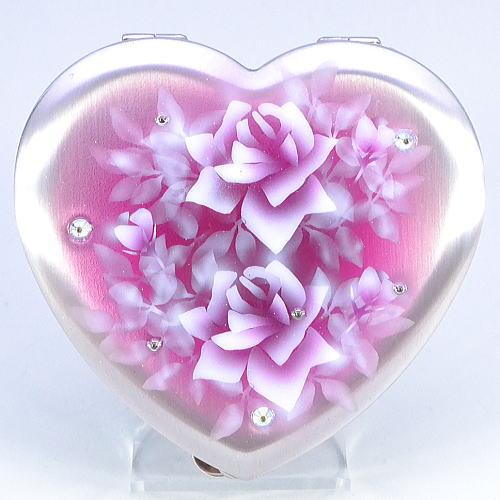 ハート型 携帯灰皿 濃いめの赤紫にバラ エアブラシアート【送料無料】