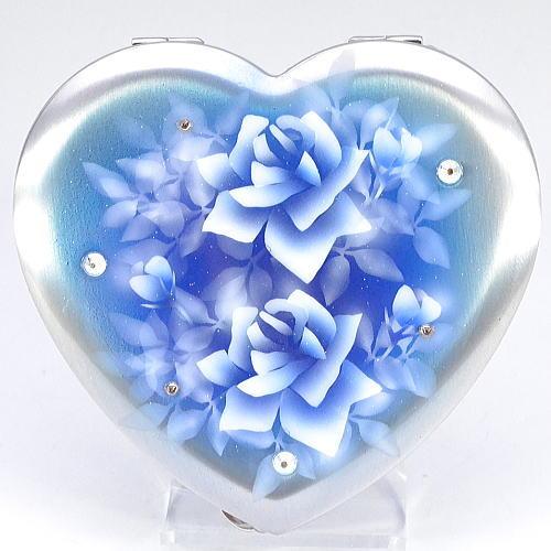 【送料無料】ハート型携帯灰皿 濃いめの青にバラ エアブラシアート
