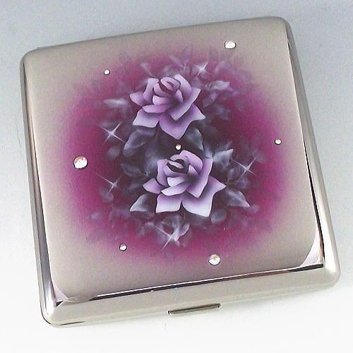 【エアブラシ】ピンクにバラ シガレットケース 85mm 送料無料