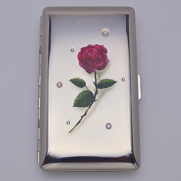送料無料【エアブラシ】一輪の赤いバラ シガレットケース 100ミリ 14本用 ロング用 たばこケース 煙草ケース タバコケース