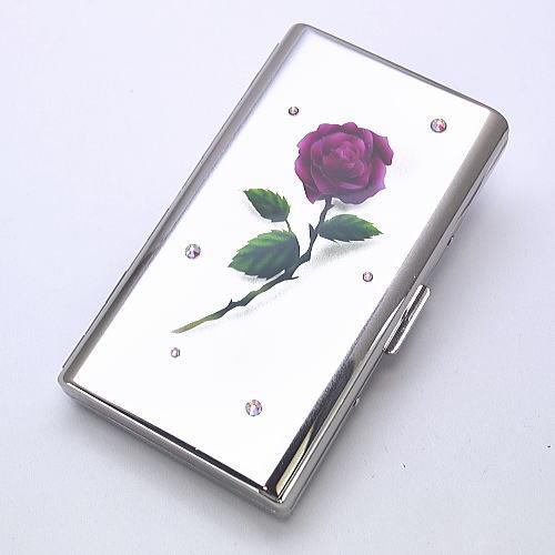 送料無料【エアブラシ】一輪の赤いバラ  シガレットケース 100ミリ 14本用 ロング用