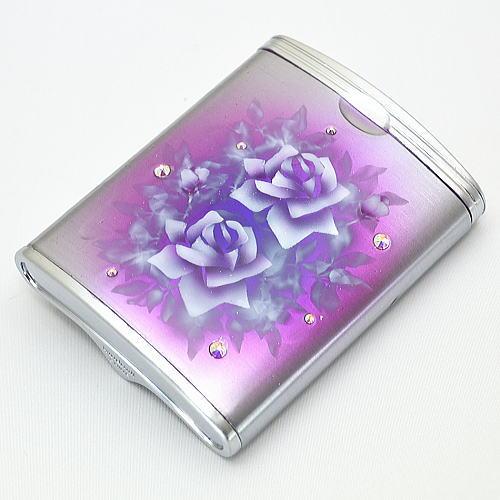 ハニカム型 携帯灰皿 パープルにバラ エアブラシアート【送料無料】