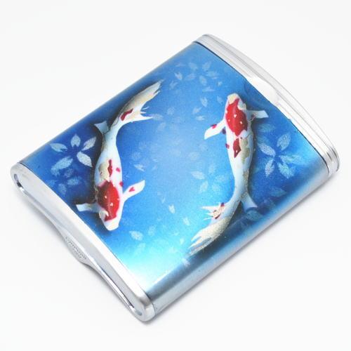 ハニカム型 携帯灰皿 和柄鯉 エアブラシアート【送料無料】