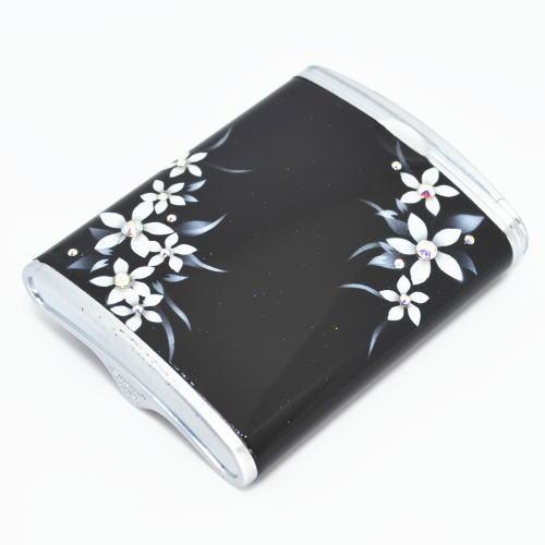 ハニカム型 携帯灰皿 黒に白い花 エアブラシアート【送料無料】