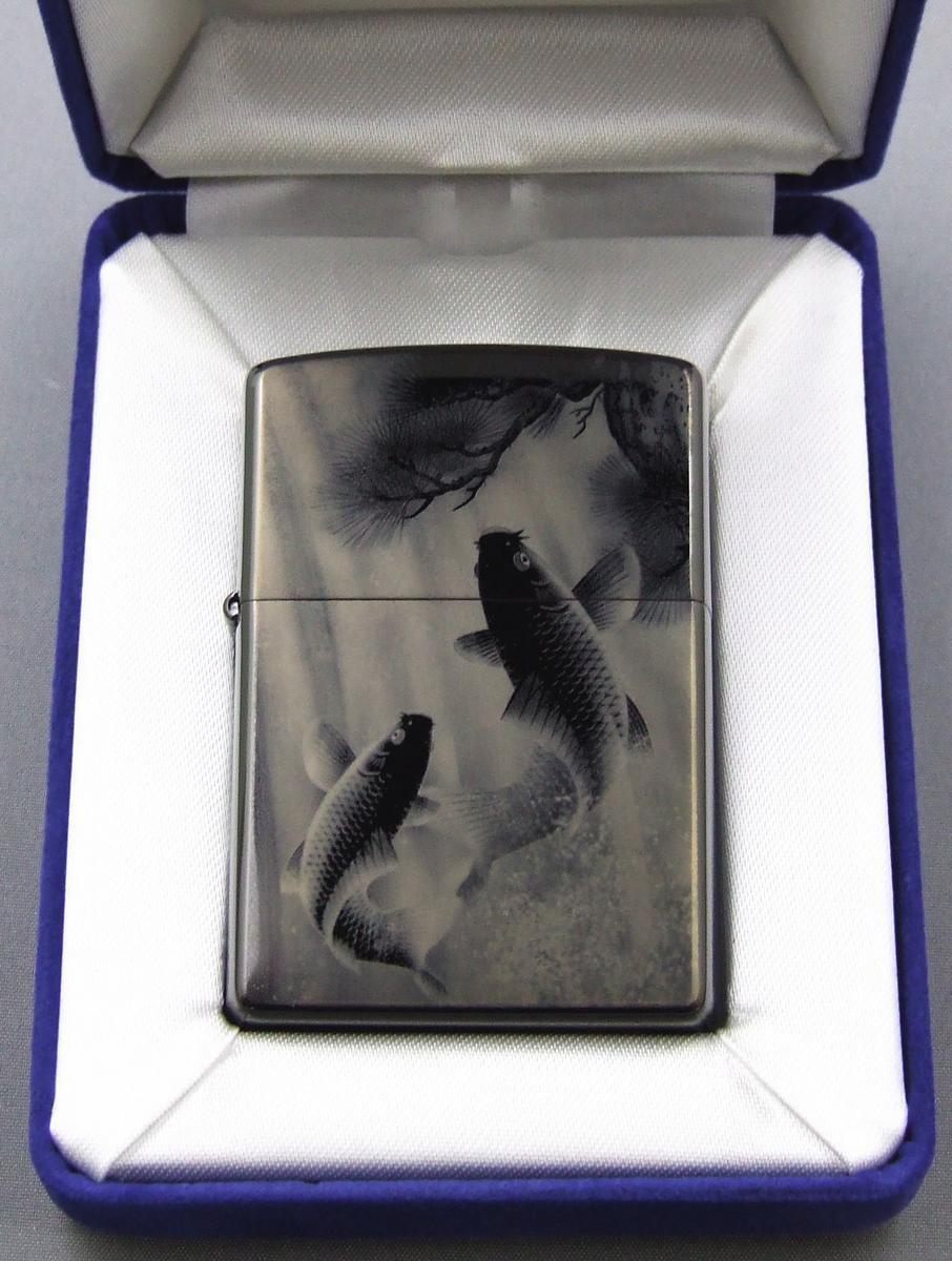 【送料無料】ブラックチタン(黒チタン)ZIPPO レーザー彫刻 鯉の滝登り