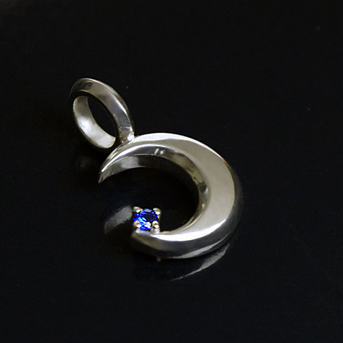 Bluemoonsilverpendan top-blue spinel / silver accessories mens necklace sum sum pattern made in Japan handmade