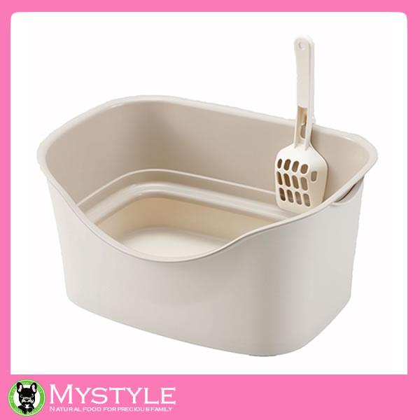 ボンビアルコン ラクラク猫トイレダブルブロック【アイボリー】 猫用トイレ 固まる砂用 ペット用品
