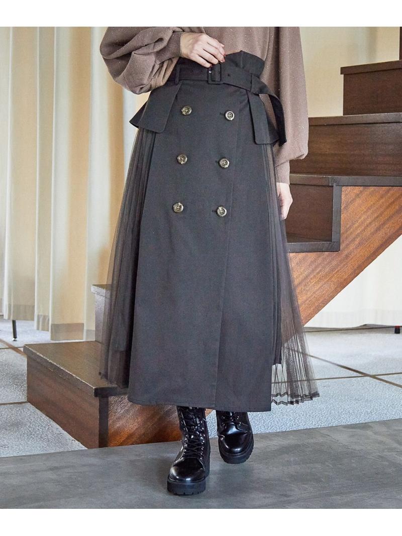 mysty woman レディース スカート ミスティウーマン W Fashion 送料無料 ご注文で当日配送 テレビで話題 Rakuten サイドチュールトレンチSK ロングスカート
