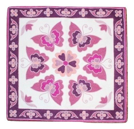 カラフルな刺繍が特徴のクッションカバー クッションカバー モロカン 刺繍 北欧 高級感 ピンク セール 45x45 倉 バタフライ アウトレット 店 優しい質感