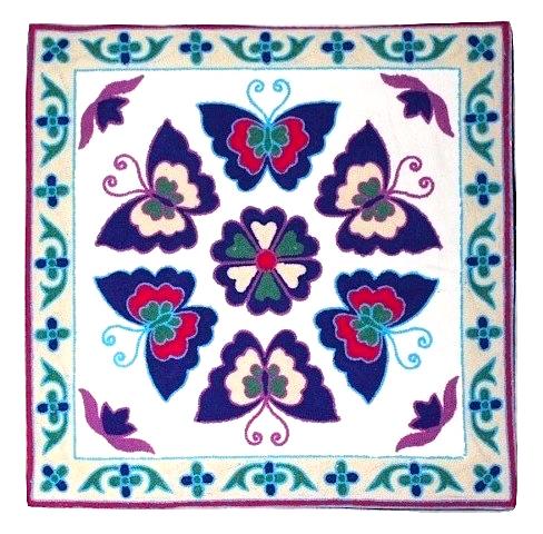 評判 カラフルな刺繍が特徴のクッションカバー クッションカバー モロカン 刺繍 北欧 高級感 45x45 セール 優しい質感 ブルー アウトレット バタフライ 送料込