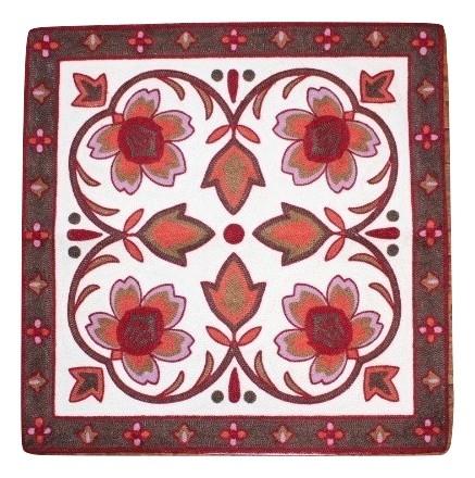カラフルな刺繍が特徴のクッションカバー クッションカバー モロカン 刺繍 北欧 高級感 優しい質感 ワインパープル アウトレット フラワー まとめ買い特価 45x45 送料込 セール