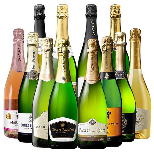 【送料無料】【62%OFF】シャンパーニュ製法カバ6本を含む欧州銘醸3カ国泡12本セット 第3弾 【7792605】 スパークリングワイン ワインセット 辛口 ロゼ